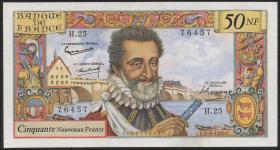 Frankreich / France P.143 50 Nouveaux Francs 3.9.1959 Henri IV (2)
