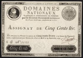 Frankreich / France P.A040 Assignat 500 Livres 1790 (1)