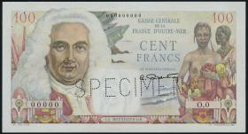 Fra.-Äquatorialafrika/F.Equatorial Africa P.24s 100 Francs (1947) Specimen (1/1-)