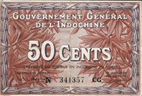 Franz. Indochina / French Indochina P.087e 50 Cents (1939)