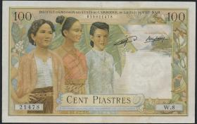 Franz. Indochina / French Indochina P.103 100 Piaster = 100 Riels (1954) (2)