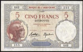 Franz. Somaliland / French Somaliland P.06 5 Francs o.J. (2)