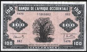 Franz. Westafrika / French West Africa P.31 100 Francs 1942 (2)