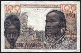Franz. Westafrika / French West Africa P.46 100 Francs 1957 (3-)