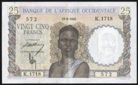 Franz. Westafrika / French West Africa P.38 25 Francs 1943 (2+)