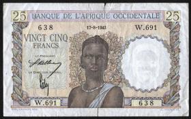Franz. Westafrika / French West Africa P.38 25 Francs 1943 (4)