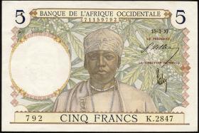 Franz. Westafrika / French West Africa P.21 5 Francs 1937 (1-)
