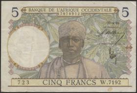 Franz. Westafrika / French West Africa P.21 5 Francs 1939-41 (3)