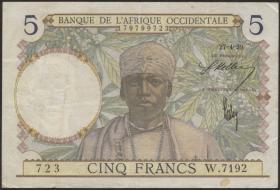 Franz. Westafrika / French West Africa P.21 5 Francs 1939-41 (3)