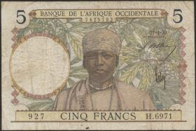 Franz. Westafrika / French West Africa P.21 5 Francs 1939-41