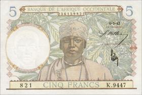 Franz. Westafrika / French West Africa P.25 5 Francs 1942 (1)