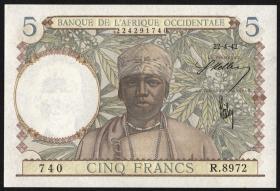 Franz. Westafrika / French West Africa P.25 5 Francs 1942