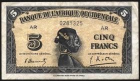 Franz. Westafrika / French West Africa P.28 5 Francs 1942 (3)