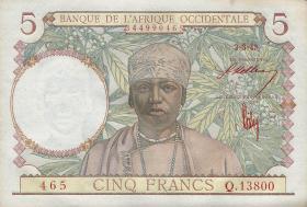 Franz. Westafrika / French West Africa P.26 5 Francs 1943