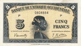 Franz. Westafrika / French West Africa P.28 5 Francs 1942