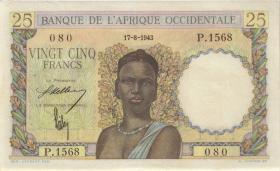 Franz. Westafrika / French West Africa P.38 25 Francs 1943 (2)