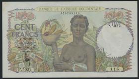 Franz. Westafrika / French West Africa P.40 100 Francs 1948 (2+)