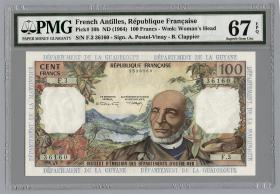 Franz. Antillen/French Antilles P.10b 100 Francs (1964)