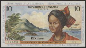 Franz. Antillen/French Antilles P.08a 10 Francs (1964) (2)