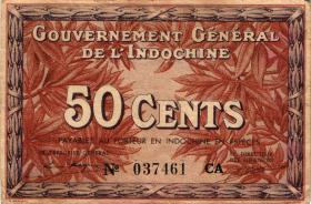 Franz. Indochina / French Indochina P.087d 50 Cents (1939) (2)