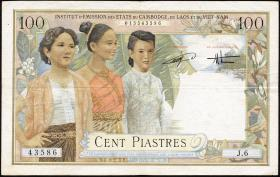 Franz. Indochina / French Indochina P.108 100 Piaster = 100 Dong (1954) (3)