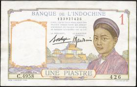 Franz. Indochina / French Indochina P.054b 1 Piaster (1936) (2)