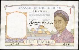 Franz. Indochina / French Indochina P.054b 1 Piaster (1936) (2)