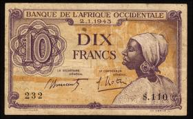 Franz. Westafrika / French West Africa P.29 10 Francs 1943 (3)