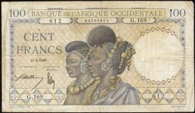 Franz. Westafrika / French West Africa P.23 100 Francs 1940 (4)