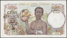 Franz. Westafrika / French West Africa P.40 100 Francs 1946 (2/1)