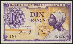 Franz. Westafrika / French West Africa P.29 10 Francs 1943 (2)