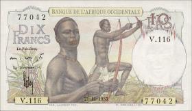 Franz. Westafrika / French West Africa P.37 10 Francs 1953 (1)