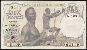 Franz. Westafrika / French West Africa P.37 10 Francs 1953 (3)