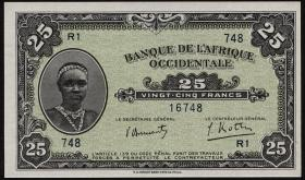 Franz. Westafrika / French West Africa P.30a 25 Francs 1942 (1)