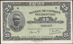 Franz. Westafrika / French West Africa P.30a 25 Francs 1942 (3+)