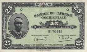 Franz. Westafrika / French West Africa P.30a 25 Francs 1942 (2)
