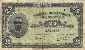 Franz. Westafrika / French West Africa P.30a 25 Francs 1942 (3-)