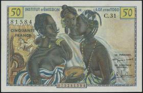 Franz. Westafrika / French West Africa P.45 50 Francs (1956) (2+)