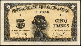 Franz. Westafrika / French West Africa P.28 5 Francs 1942 (2)
