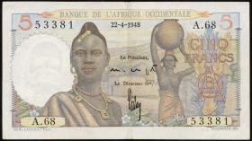 Franz. Westafrika / French West Africa P.36 5 Francs 1943 (2)