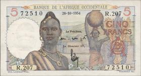 Franz. Westafrika / French West Africa P.36 5 Francs 1954 (1)