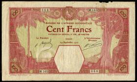 Franz. Westafrika / French West Africa P.011Bb 100 Francs 1926 (4)