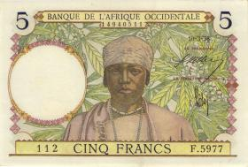Franz. Westafrika / French West Africa P.021 5 Francs 1938 (1/1-)