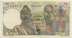 Franz. Westafrika / French West Africa P.36 5 Francs 1953 (1)