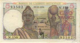 Franz. Westafrika / French West Africa P.37 10 Francs 1952 (1-)