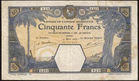 Franz. Westafrika / French West Africa P.09Bc 50 Francs 1929 Dakar (3-)