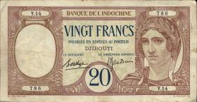 Franz. Somaliland / French Somaliland P.07 20 Francs (1928-1938) (3)