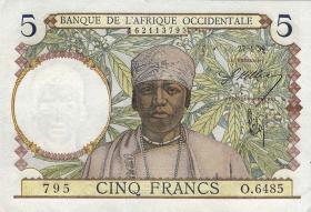 Franz. Westafrika / French West Africa P.21 5 Francs 1939 (1)