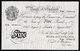 Großbritannien / Great Britain P.344 5 Pounds 1952 (1-)