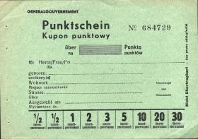 Generalgouvernement Punktschein - Kupon punktowy (1)